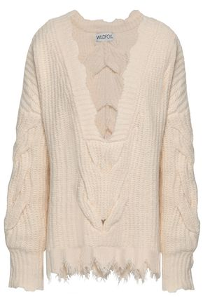 WILDFOX Distressed cable-knit cotton-blend sweater