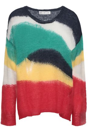 WILDFOX Distressed crochet-knit sweater