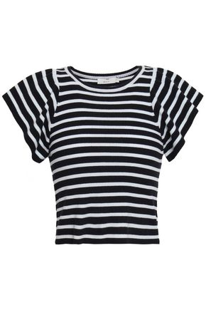 A.L.C. Striped ribbed merino wool-blend top