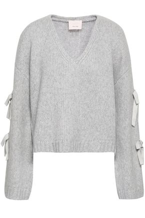 CINQ À SEPT Bow-detailed wool-blend sweater