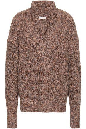 CINQ À SEPT Cutout marled knitted sweater