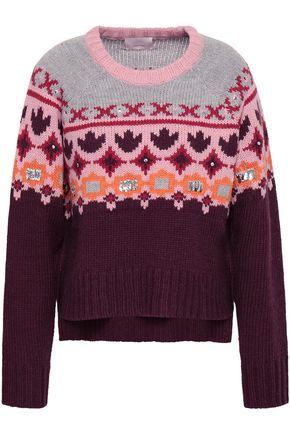 CINQ À SEPT Sequin-embellished jacquard-knit sweater
