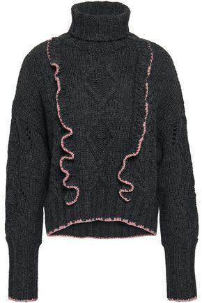CINQ À SEPT Ruffle-trimmed cable-knit turtleneck sweater