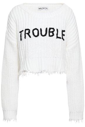 WILDFOX Frayed embroidered ribbed-knit cotton top