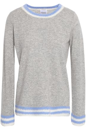 MADELEINE THOMPSON Crochet-trimmed mélange wool and cashmere-blend sweater