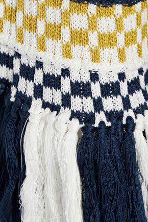 ROSIE ASSOULIN Tassel-trimmed striped cotton sweater