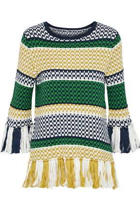 ROSIE ASSOULIN Tassel-trimmed striped cotton sweater