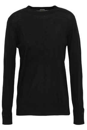 ADAM LIPPES Cotton-trimmed merino wool sweater
