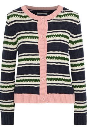 CHINTI AND PARKER Striped cotton-jacquard cardigan
