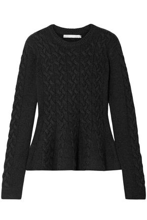 JASON WU Cable-knit wool-blend peplum sweater