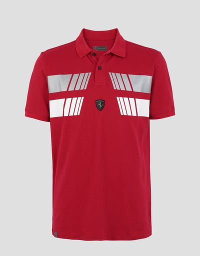 Scuderia Ferrari Online Store - Men's polo shirt in piqué cotton with silver print - Short Sleeve Polos