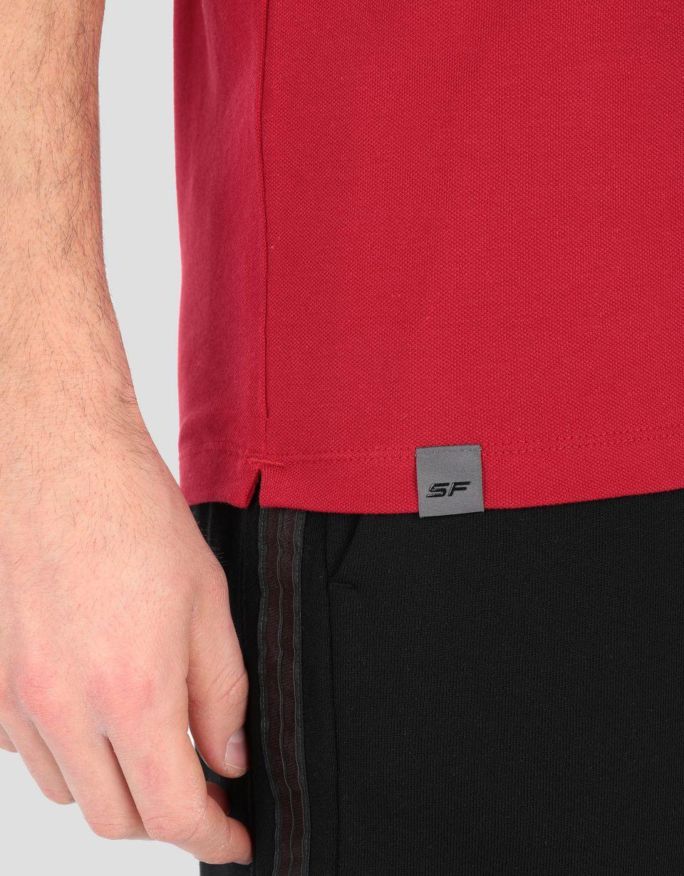 Scuderia Ferrari Online Store - Polo uomo in cotone piquet con stampa argento - Polo a maniche corte