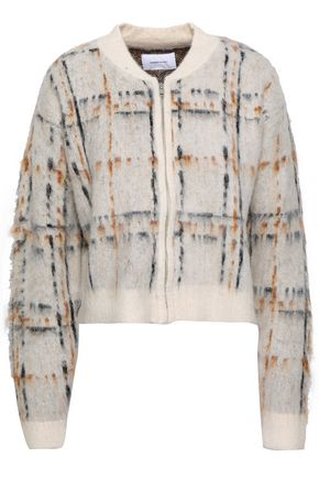 CURRENT/ELLIOTT Checked brushed jacquard-knit bomber jacket