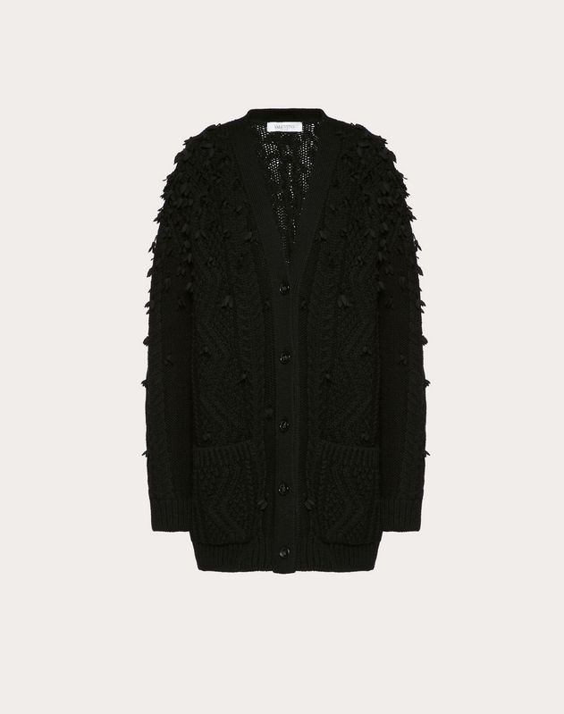 Oversized Embroidered Wool Cardigan