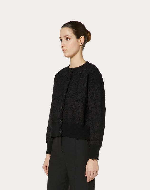CASHMERE WOOL AND HEAVY LACE CARDIGAN