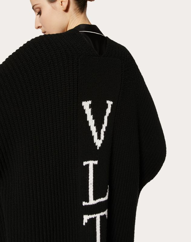 VLTN INLAY WOOL PONCHO