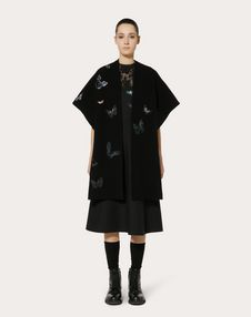 WOOL PONCHO WITH BUTTERFLY EMBROIDERY