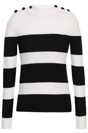 ANINE BING Button-detailed striped intarsia-knit sweater