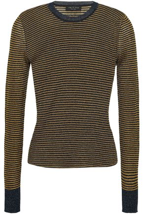 RAG & BONE Raina metallic striped stretch-knit top
