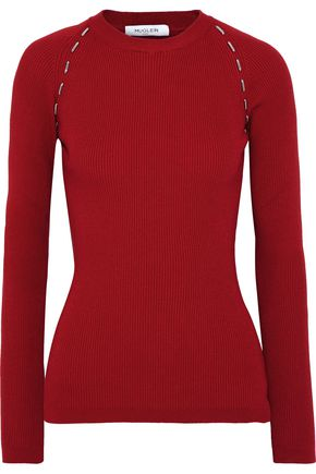 MUGLER Bead-embellished ribbed-knit top