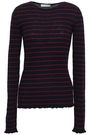 VINCE. Striped ribbed cashmere sweater