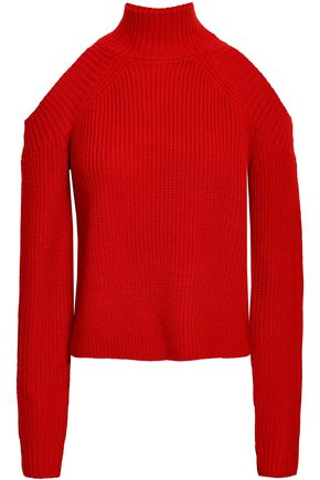 NICHOLAS Cold-shoulder wool-blend turtleneck sweater