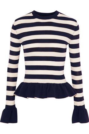 KHAITE Claudia striped stretch-wool peplum sweater