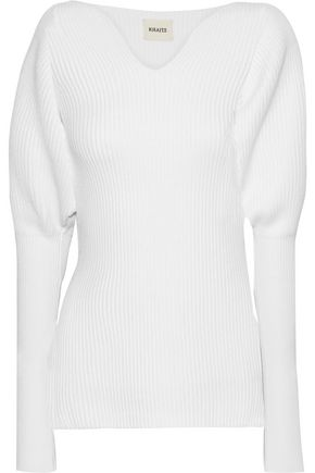 KHAITE Gathered ribbed merino wool sweater