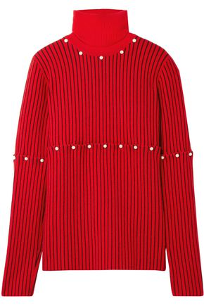 OPENING CEREMONY Convertible faux pearl-embellished wool-jacquard turtleneck sweater