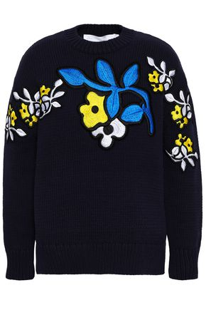 VICTORIA, VICTORIA BECKHAM Embroidered cotton-blend sweater