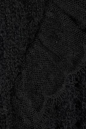 GIAMBATTISTA VALLI Lace-trimmed open-knit wool-blend cardigan