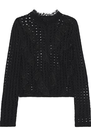 GIAMBATTISTA VALLI Lace-trimmed open-knit wool-blend cardigan