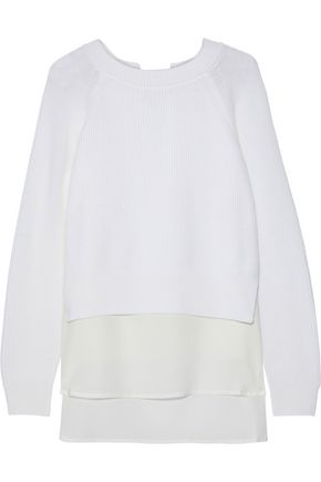 Layered Crepe De Chine And Ribbed Wool Sweater by Agnona