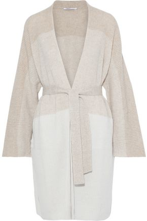 AGNONA Belted color-block cashmere and linen-blend cardigan