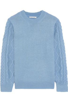 REBECCA MINKOFF Penny cable knit-paneled knitted sweater
