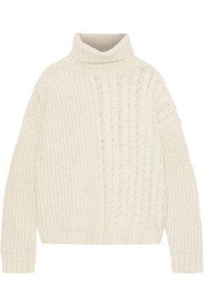 LINE Phoebe paneled cotton-blend turtleneck sweater