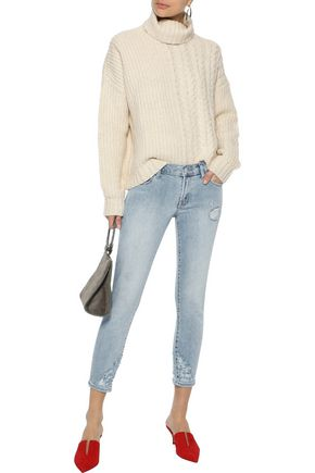 LINE Phoebe paneled cotton-blend turtleneck sweater
