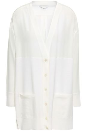 AGNONA Wool and silk-paneled cardigan