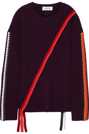 DEREK LAM 10 CROSBY Braid-trimmed ribbed merino wool sweater