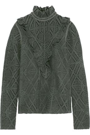 SEE BY CHLOÉ Ruffled pointelle-knit turtleneck sweater