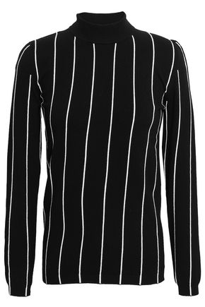 MUGLER Striped stretch-knit sweater