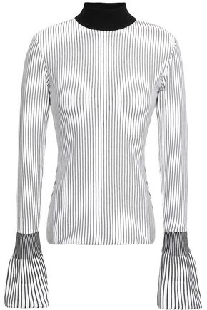 MUGLER Fluted striped stretch-knit sweater
