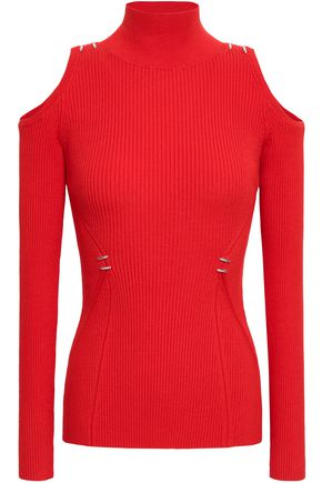 MUGLER Cold-shoulder ribbed-knit sweater