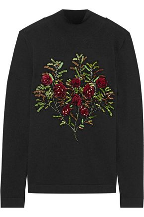 OSCAR DE LA RENTA Sequin-embellished wool turtleneck sweater