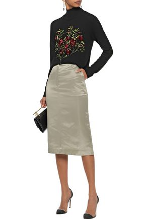 OSCAR DE LA RENTA Sequin-embellished wool turtleneck sweater