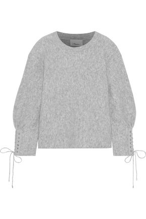 3.1 PHILLIP LIM Lace-up mélange brushed wool-blend sweater