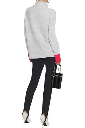DUFFY Marled ribbed cashmere turtleneck sweater