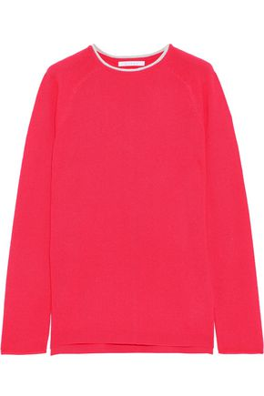 DUFFY Pointelle-trimmed marled cashmere sweater