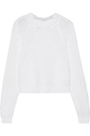 MILLY Cropped ribbed cotton-blend sweater