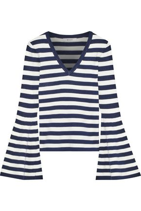 MILLY Fluted striped stretch-knit sweater